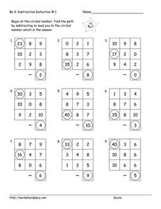 Be a Subtraction Detective #1 Worksheet