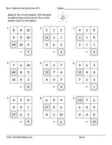 Be a Subtraction Detective  #3 Worksheet