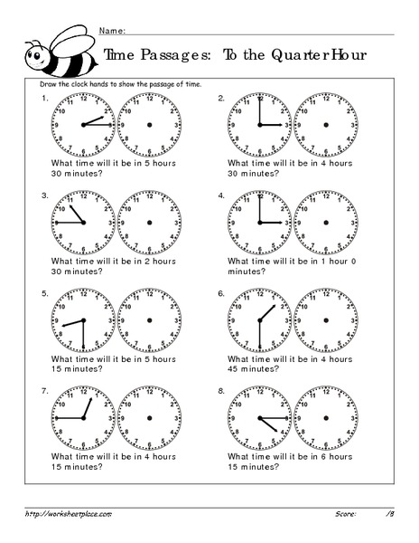 time passages to the quarter hour 16 worksheet for 3rd 4th grade lesson planet. Black Bedroom Furniture Sets. Home Design Ideas