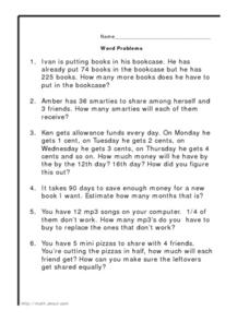 word problems addition subtraction multiplication division worksheet for 4th grade lesson. Black Bedroom Furniture Sets. Home Design Ideas