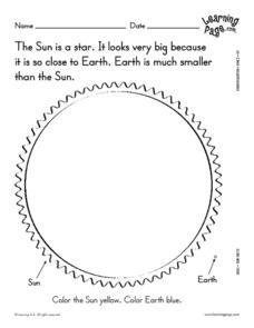 Sun Facts 3 Worksheet for Kindergarten - 1st Grade | Lesson Planet
