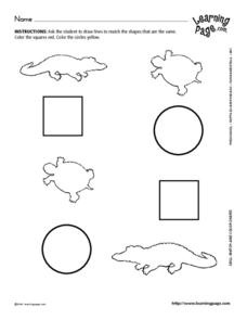 Match and Color Shapes 6 Worksheet
