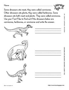 Identify Carnivores, Herbivores, and Omnivores Worksheet