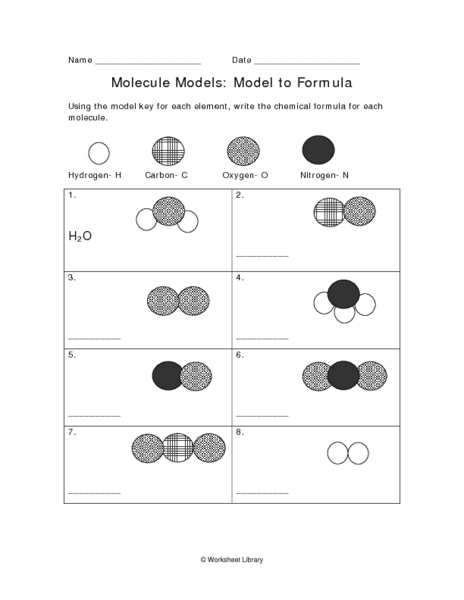 Molecule Models: Model to Formula and Model to Formula Worksheet