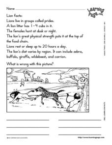 Learn Lion Facts Worksheet