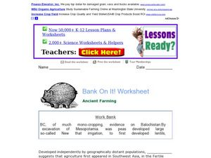 Bank on It! Worksheet: Ancient Farming Worksheet