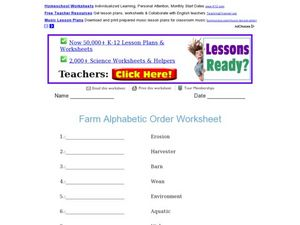 Farm Alphabetic Order Worksheet