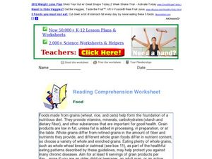 Reading Comprehension Worksheet: Food Worksheet
