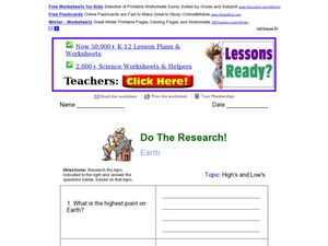 Do The Research!: Earth Worksheet