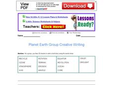 Planet Earth Group Creative Writing Worksheet