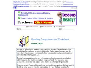 Reading Comprehension Worksheet: Planet Earth Worksheet