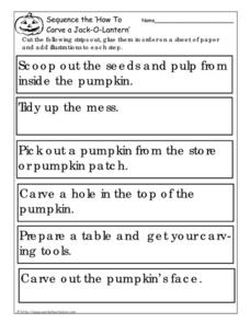 Sequence the 'How to Carve a Jack-O-Lantern' Worksheet
