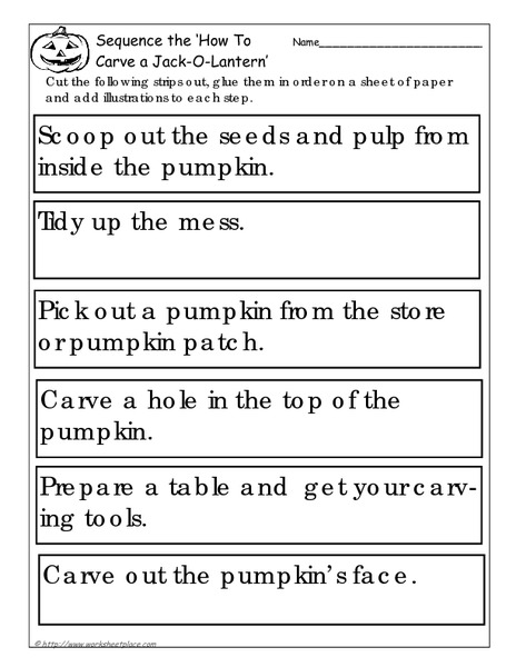 sequence the 39 how to carve a jack o lantern 39 worksheet for 2nd 3rd grade lesson planet. Black Bedroom Furniture Sets. Home Design Ideas