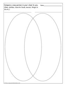 Compare a New Person In Your Class to You (Venn Diagram) Worksheet