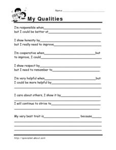 My qualities Worksheet