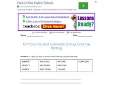 Compounds and Elements Group Creative Writing Worksheet