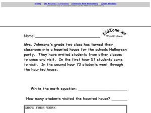 Word Problems #9 Worksheet