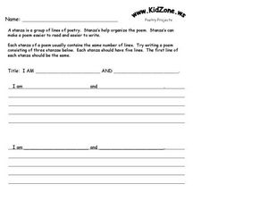Poetry - Stanzas - I Am Poem Worksheet