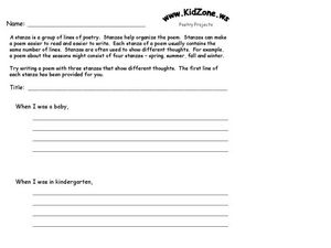 poetry stanzas worksheet for 4th 5th grade lesson planet. Black Bedroom Furniture Sets. Home Design Ideas