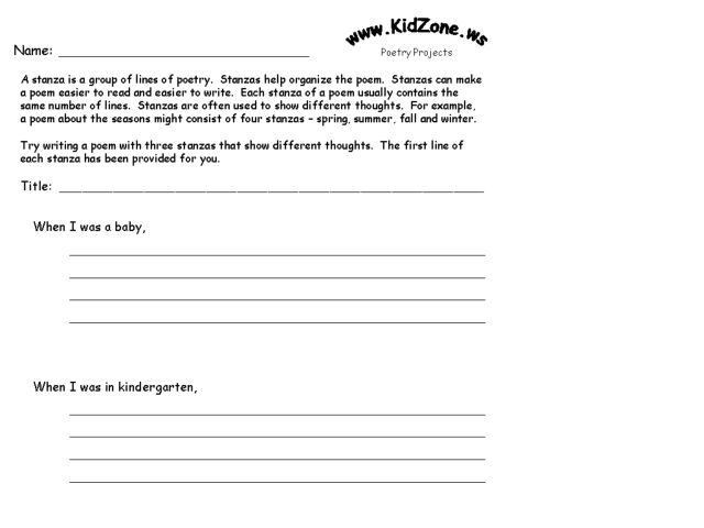 Poetry Stanzas Worksheet For 4th 5th Grade Lesson Planet