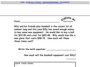Problem Solving: Adding Money Worksheet