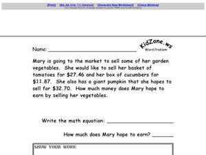 Word Problem: Adding Money Worksheet