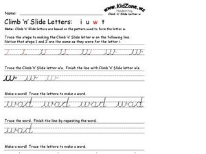 Climb 'n' Slide Letters: W Worksheet