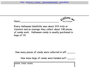 Multi-step Word Problem - Halloween Worksheet