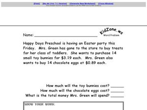 Multiple Step Word Problem - Easter Multiplication and Addition Worksheet
