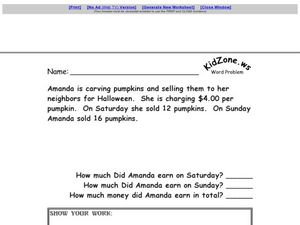 Multiple Step Word Problem - Halloween Multiplication with Money Worksheet