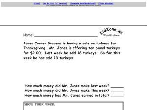 Multiple Step Word Problem - Thanksgiving Turkeys Worksheet