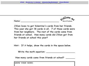 KidZone: Word Problem Worksheet