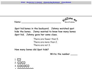 Dog Bones Number Clues Worksheet