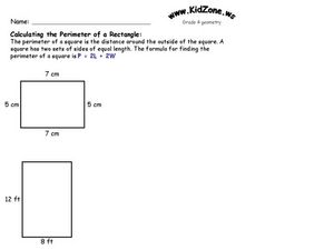 Calculating the Perimeter of a Rectangle Worksheet