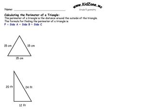 Calculating the Perimeter of a Triangle Worksheet