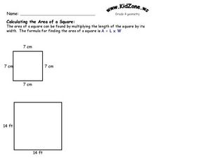 Calculating the Area of a Square Worksheet