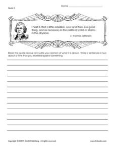 Famous Thomas Jefferson Quote Worksheet