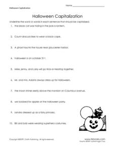 Halloween Capitalization Worksheet