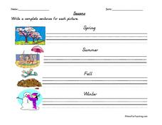 Seasons: Writing Complete Sentences Worksheet