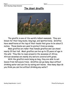 The Giant Giraffe: Reading Comprehension Worksheet
