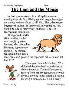 The Lion and the Mouse: Reading Comprehension Worksheet