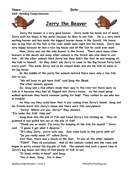 Jerry The Beaver Reading Comprehension Worksheet For 2nd