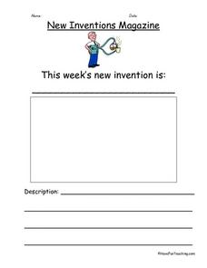 Creative Writing Prompt - New Inventions Worksheet