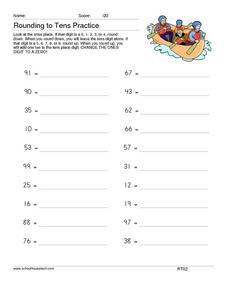 Rounding to Tens Practice Worksheet