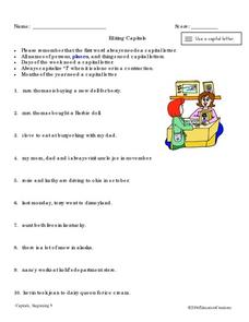 Editing Capital Letters Worksheet