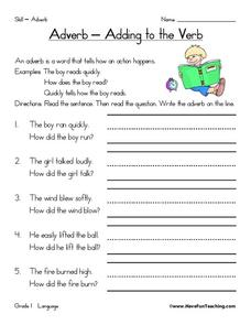 Adverb - Adding to the Verb Worksheet