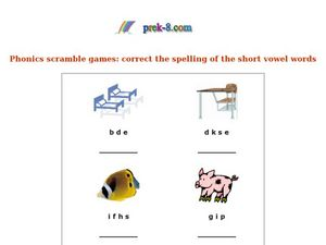 Phonics Scramble Games: Correct the Spelling of Short Vowel Words Worksheet