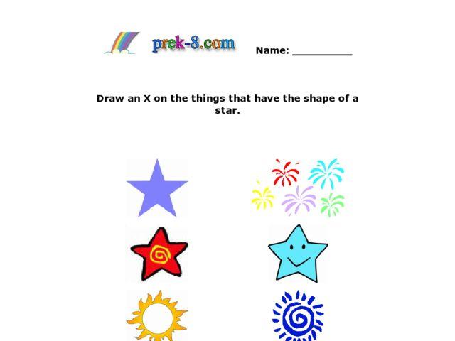 Star Shapes Worksheet For Pre-K - Kindergarten