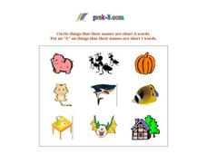 Short Vowels 1 Worksheet