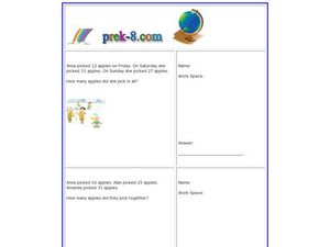 Apple Picking Word Problems - Addition Worksheet